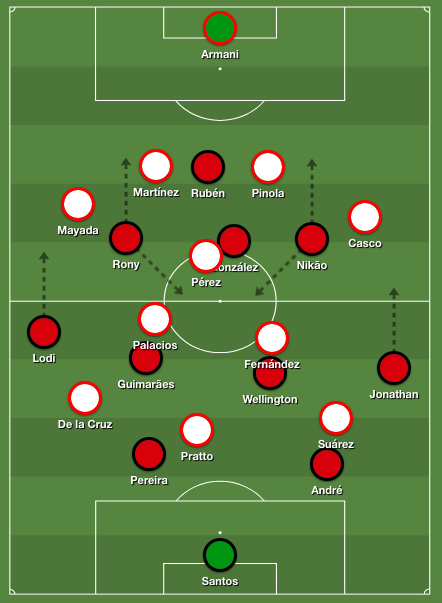 In the second half, Athletico's shape looked more like a 4-2-3-1. River switched to an aggressive 4-3-3 shape, with Palacios and Fernández pressing aggressively.