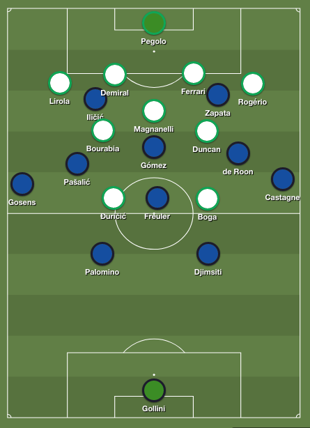 Gasperini's substitution now gives Atalanta superiority in midfield against ten-men Sassuolo